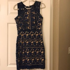 Dresses & Skirts - Blue lace dress with under lay